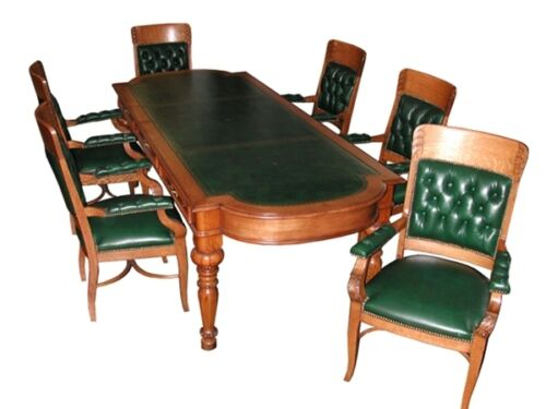 C. 1900 American Oak Conference Table, Leather Chairs & Top #702