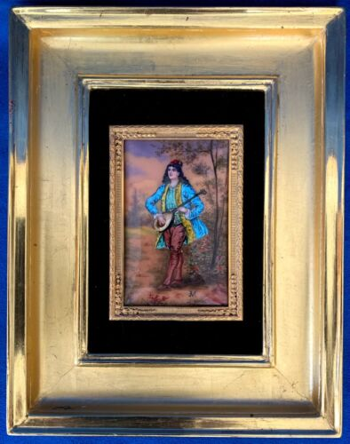 Beautiful Antique Enamel on Copper Plaque Young Man Playing Sitar Signed M