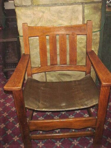 "L.& J. G. STICKLEY 1900 ANTIQUE SPANISH ARMCHAIR  #2567 MISSION OAK 37""24""21"""