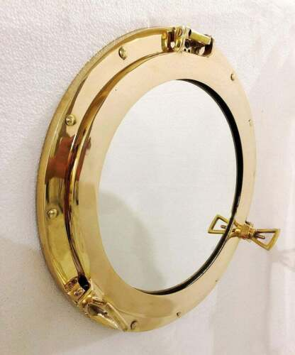 "Antique 15"" Brass Porthole Gold Finish Port Mirror Wall Hanging Ship Porthole"