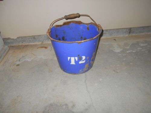 Antique Vintage Blue Porcelain Bucket