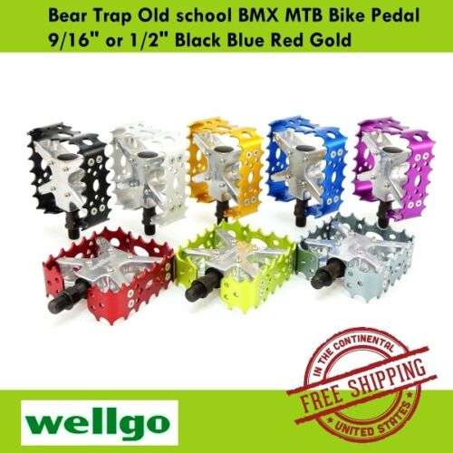 "Wellgo BMX MTB Bear Trap III Old school Bike Pedal 9//16/"" 1//2/"" Blue Gold Silver"