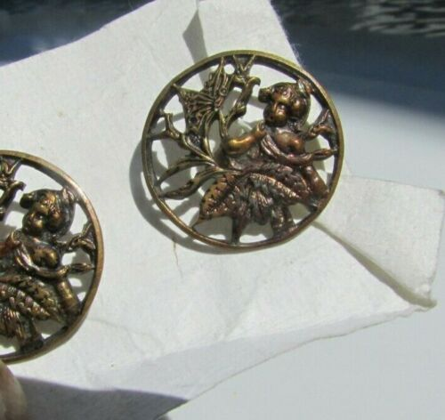 Antique Victorian Buttons Cherub Fairy Butterfly Putti Reticulated Pierced Brass