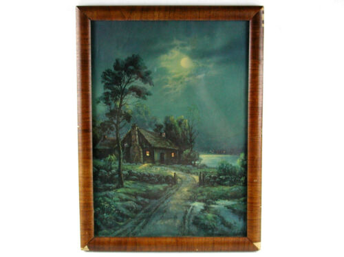 Vintage Framed Print Of Moon Over Cabin By Famous Artist W M Thomason