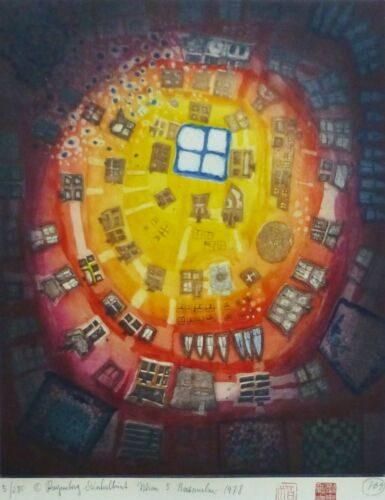 Friedensreich HUNDERTWASSER Window out of the pond 78 Hand signed Etching 5/280