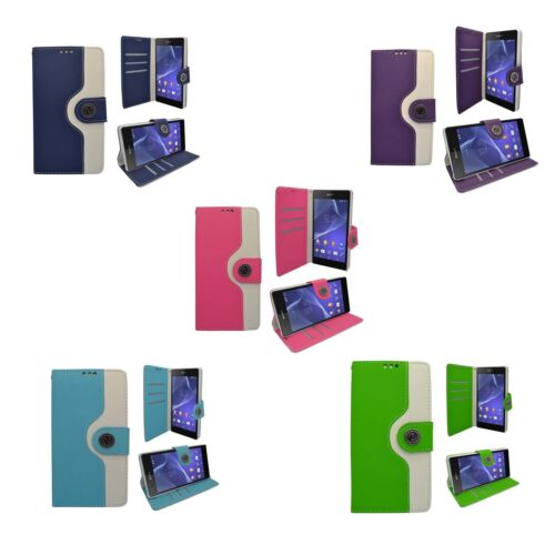 CASE FOR SONY XPERIA Z2 TWO COLOUR WALLET FLIP PRINT DESIGN PU LEATHER COVER