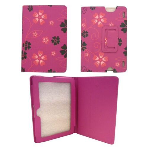 CASE FOR AMAZON KINDLE HDX HOT PINK CASE PINK GREY FLOWER SWIRLPU LEATHER COVER