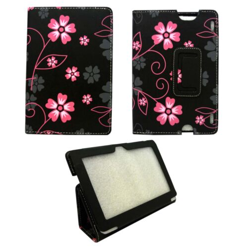 CASE FOR AMAZON KINDLE HDX BLACK WITH PINK AND GREY FLOWER SWIRLPU LEATHER COVER