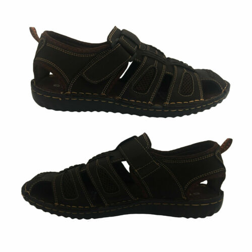 Mens Sandals ProActive Panama Closed Toe Sandal Leather Upper Brown Size 7-12