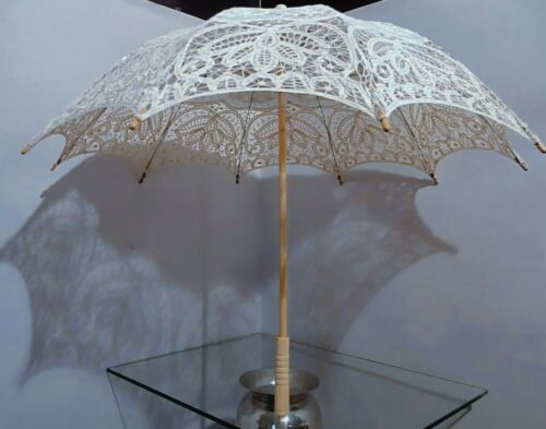 umbrella SUNSHINE macrame' ecru natural frame with light wood lacy overlay d70cm