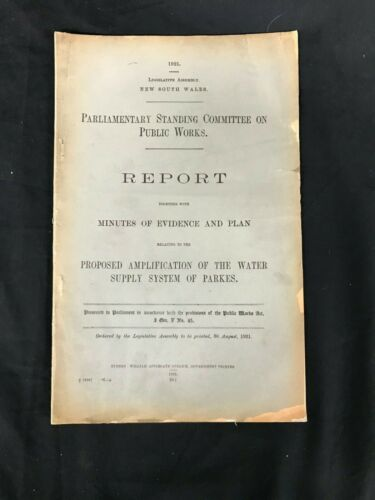 NSW PARLIAMENTARY REPORT ON WATER SUPPLY SYDNEY 1921   M301