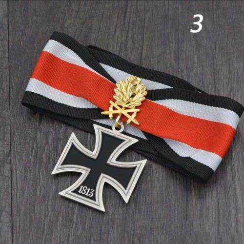 WWII German iron cross medal badge with double knight oak leaves neck ribbon BoxGermany - 156432