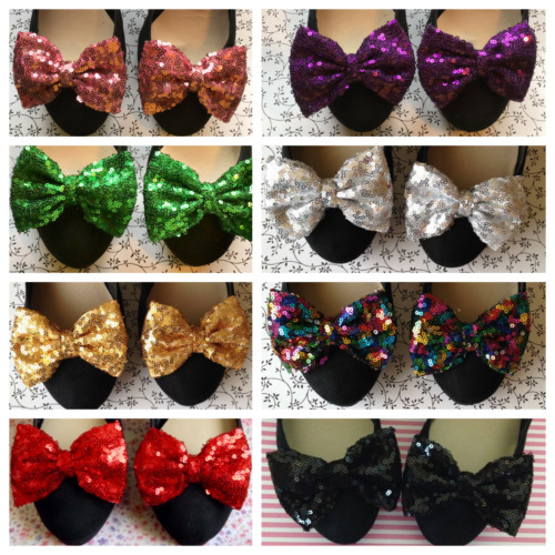 PAIR SEQUIN SPARKLE FABRIC BOW SHOE CLIPS RETRO VINTAGE STYLE GLAMOUR BOWS PARTY