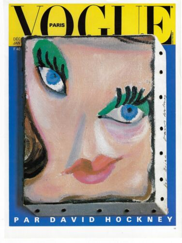DAVID HOCKNEY POSTER ART MAGAZINE COVER FOR PARIS VOGUE SURREAL FACE OF A WOMAN