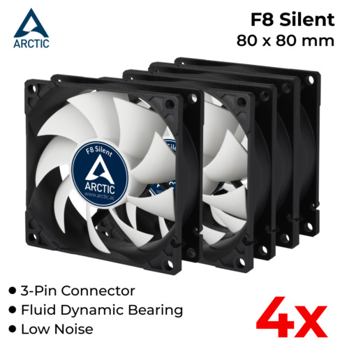 4x Case Fan 80mm 3-Pin 12V DC Cooler Low Noise Arctic Cooling F8 Silent F8-S
