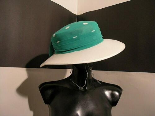 FIRST AVENUE woman green white polka bow behind HAT retro style 60's new no box