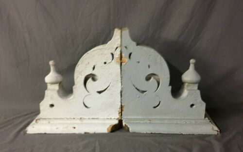 Pair Antique Roof Corbels Shelf Brackets 17x17 Shabby Vtg Chic Finials  77-19B