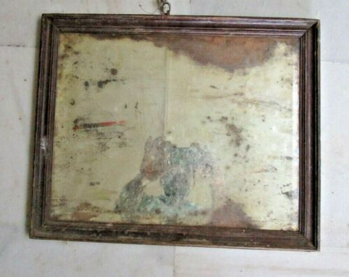 1850'S OLD ANTIQUE WOODEN THICK FRAMED WALL HANGING DRESSING BELGIUM MIRROR  M01