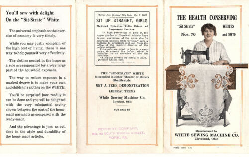 White Sewing Machines Vintage 1919 Brochure Sit-Strate Models No 70 & 8W70 Rare