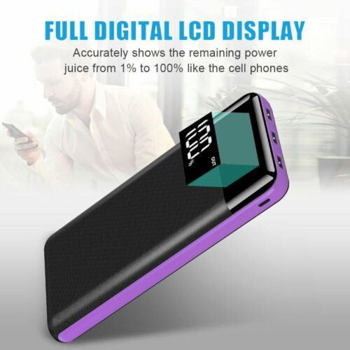 500000mAh 3USB LED LCD Power Bank Portable External Battery Charger For Phone US