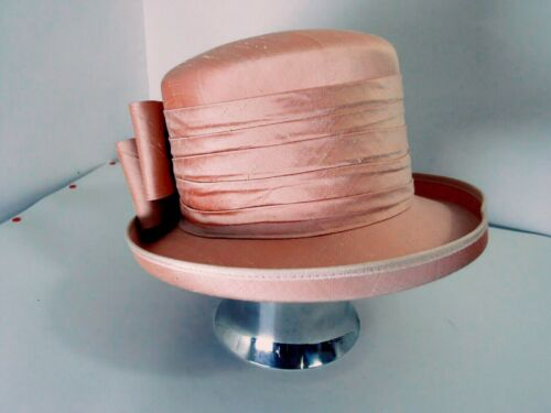 """GENEVIEVE LOUISE dsg Nigel Rayment rose BOW """"shantung"""" bend HAT occasion wedding"""
