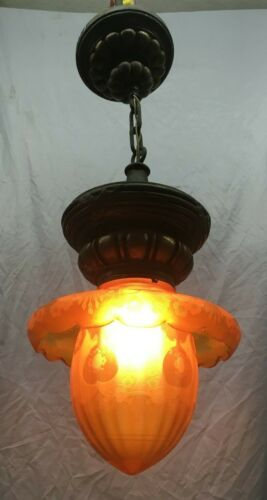 Antique Plaster Pendant Ceiling Light Fixture Floral Amber Glass Globe 437-19E