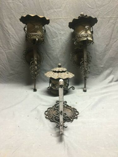 3 Wrought Iron tole Light Fixtures Vtg  Garden Candle decoration Shabby 443-19J