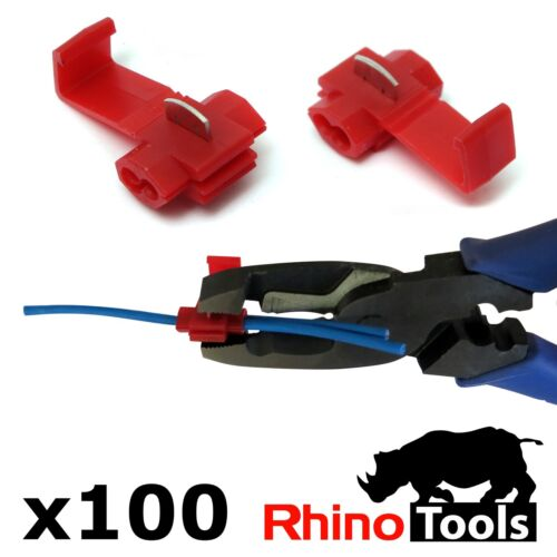 100 X Red Quick Splice Connectors Automotive Wire Joiners Scotch Lock Terminals