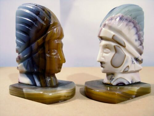 "UNBRANDED ""stunning""mirror pair of onyx/marble BOOKENDS native/columbian figures"