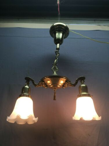 Vtg Retro Brass Pan Chandalier Light Fixture Frosted Glass Shades Old  25-20E