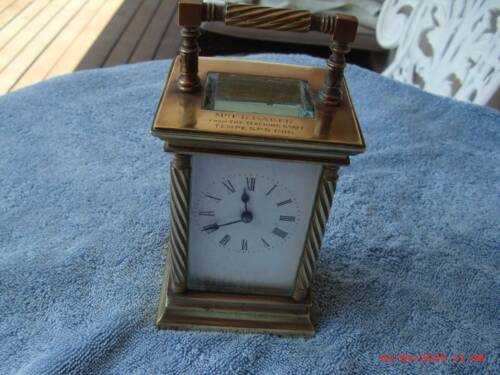 ANTIQUE CARRIAGE CLOCK- (1916?) BRASS, BEVELLED GLASS PANELS , V/GOOD