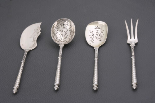 Antique French  all Silver Alloy  Hors D'oeuvre  Set 4 pc 19 Th C  original box