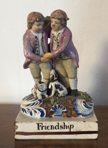 Antique 19th c. Staffordshire Pearlware Creamware Figure of Friendship Dog