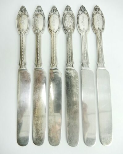 "6 Kenilworth by Albert Coles Coin Silver Flat Tea / Bkfst Knives. 7 5/8"". S-327"