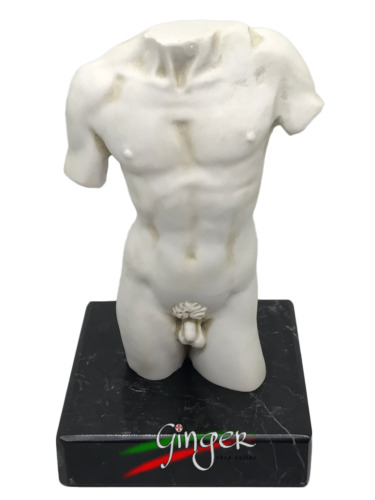 Torso del David di Michelangelo con base in marmo - cm 14 - Made in Italy