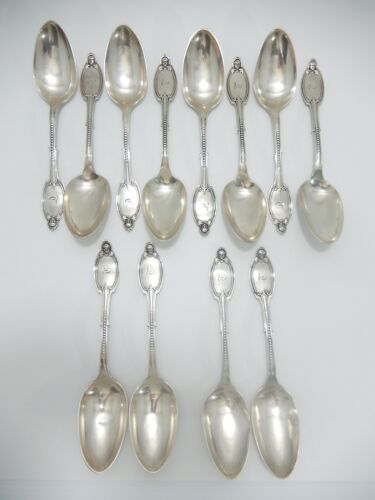 "Set 12  Kenilworth by Albert Coles Coin Silver Tablespoons.  8 1/4"".   S-188"