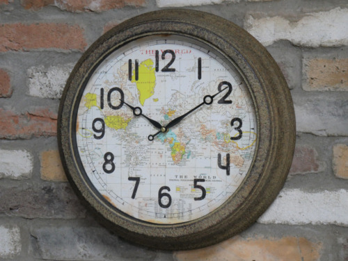 Large Rustic World Map Atlas Metal Round Vintage Antique Wall Clock