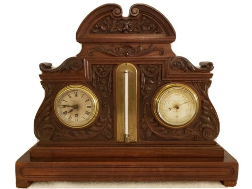 1880 English Victorian Carved Walnut Mantel Barometer Clock Dring & Fage London
