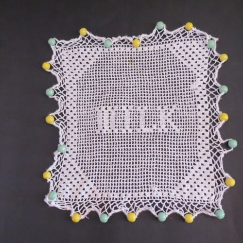 """Vintage crochet milk jug cover white with green & yellow beads """"MILK"""""""