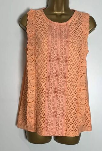 Dorothy Perkins Coral Jersey Lined Lace Sleeveless Top Size 12
