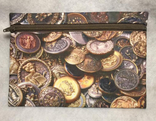 Hand Crafted & Printed Fabric Zippered Pouch Tossed Antique Button Print