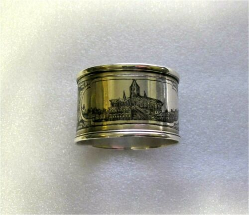 RUSSIAN STERLING SILVER 84 & NIELLO  NAPKIN RING, 1872  MOSCOW