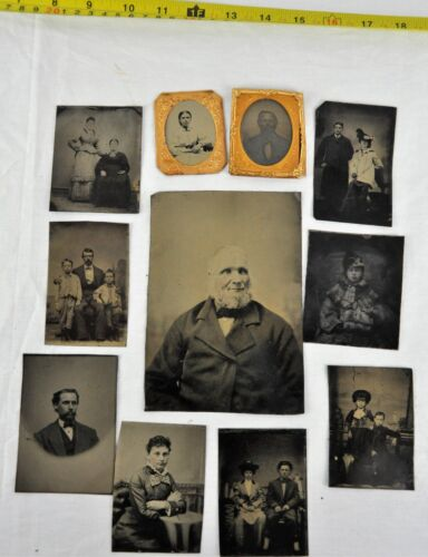 Lot of 11 Victorian era tintypes, some colored.  (BI#BX73)
