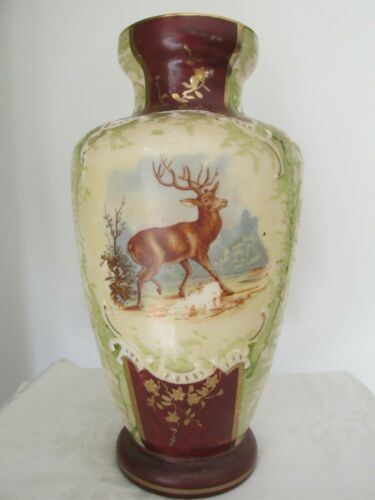 Large Antique Glass Vase with Stag Decoration