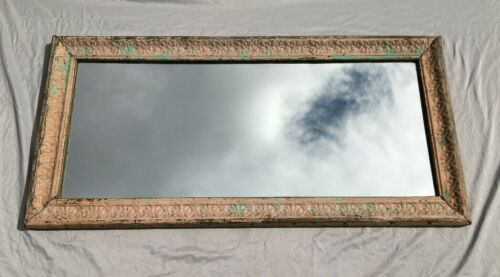 """Decorative  Salvaged Tin Ceiling Shabby 23"""" x 47""""  Pink Metal Mirror 332-20BE"""