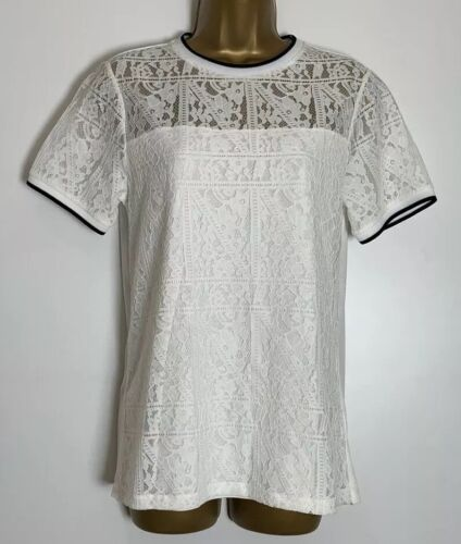 Dorothy Perkins Ivory Jersey Lined Lace Top Size 12