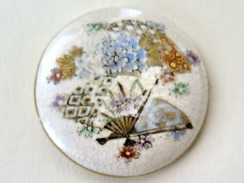 Antique Curved Needle Satsuma Button - FAN, Inanimate Object, Backmark