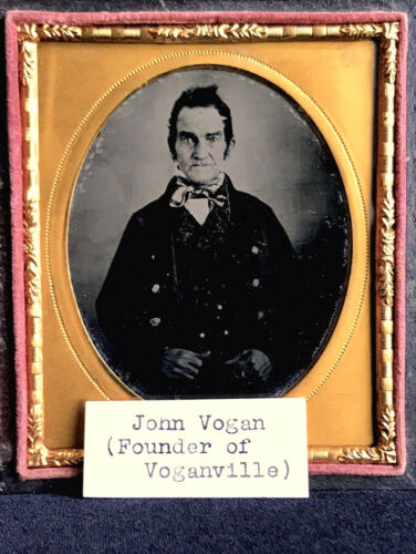 IMPORTANT & HISTORIC RUBY AMBROTYPE - JOHN VOGAN THE FOUNDER OF VOGANVILLE, PA.