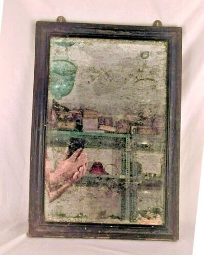 VINTAGE OLD WOODEN WELL FRAMED WALL HANGING DRESSING BELGIUM MIRROR M1