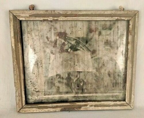 VINTAGE OLD WOODEN WELL FRAMED WALL HANGING DRESSING BELGIUM MIRROR M2